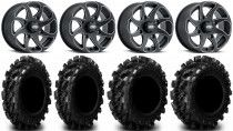 "ITP Twister 14"" Wheels Milled 28"" Swamp Lite Tires Yamaha Viking Wolverine YXZ1000R"